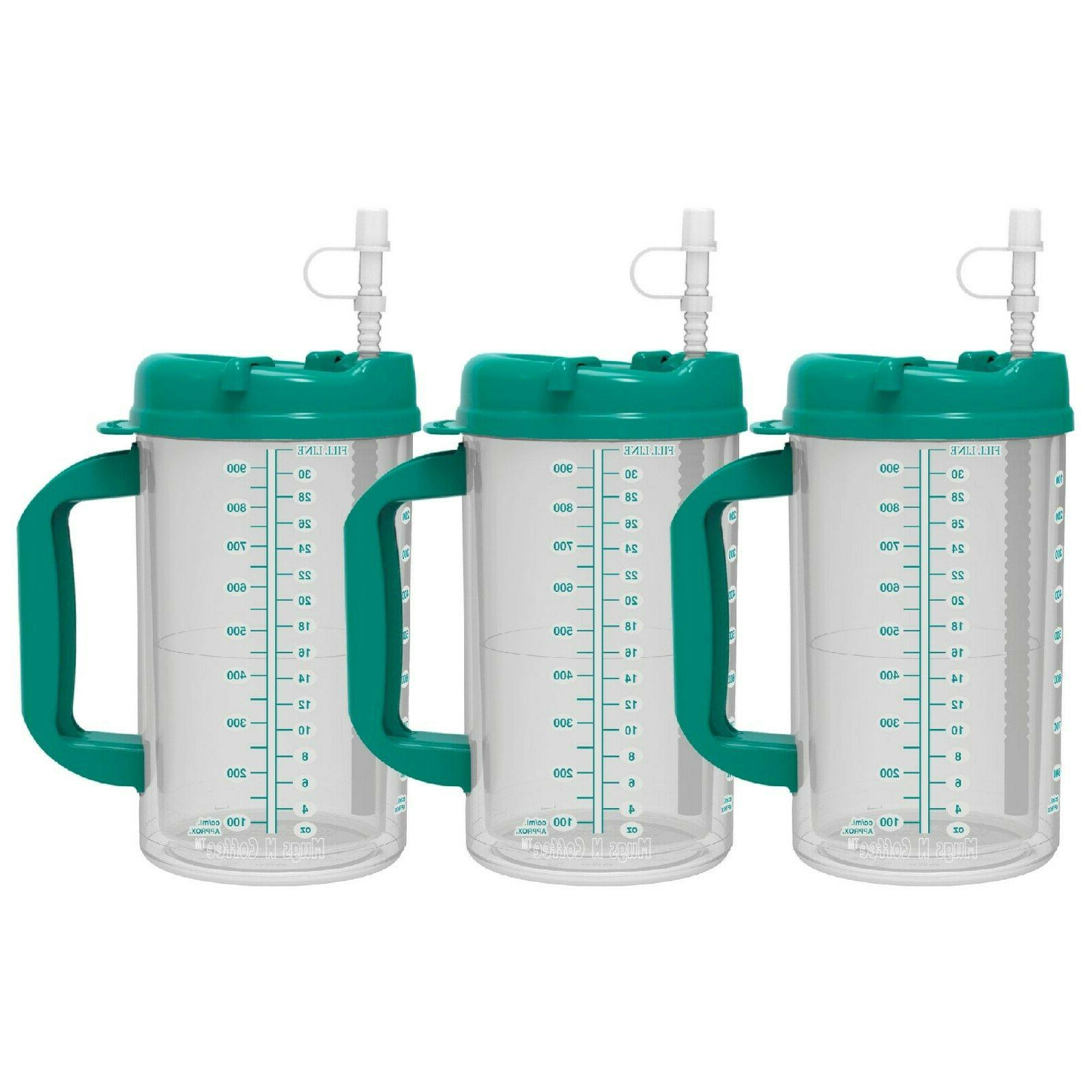 32 oz Insulated Hospital Mugs Cold Drink Straw