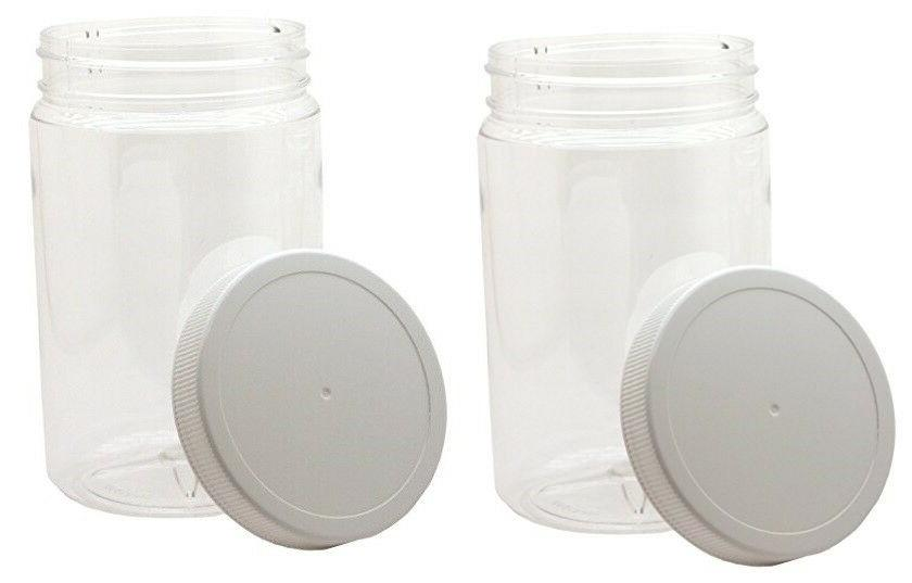32oz Clear Round Wide Mouth PET Plastic Bottle jar W/ Caps 9