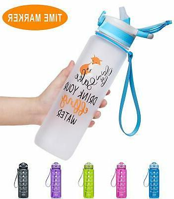 Fidus 32Oz Leakproof Tritran Bpa With Time Marker