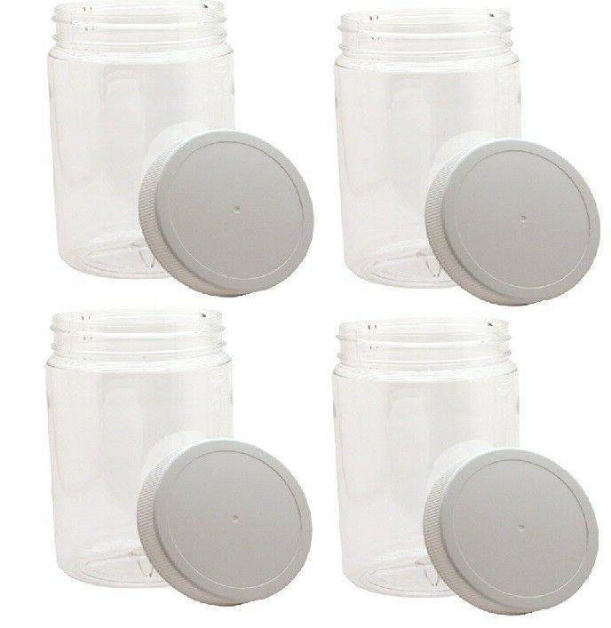 4 pack 32oz clear round wide mouth