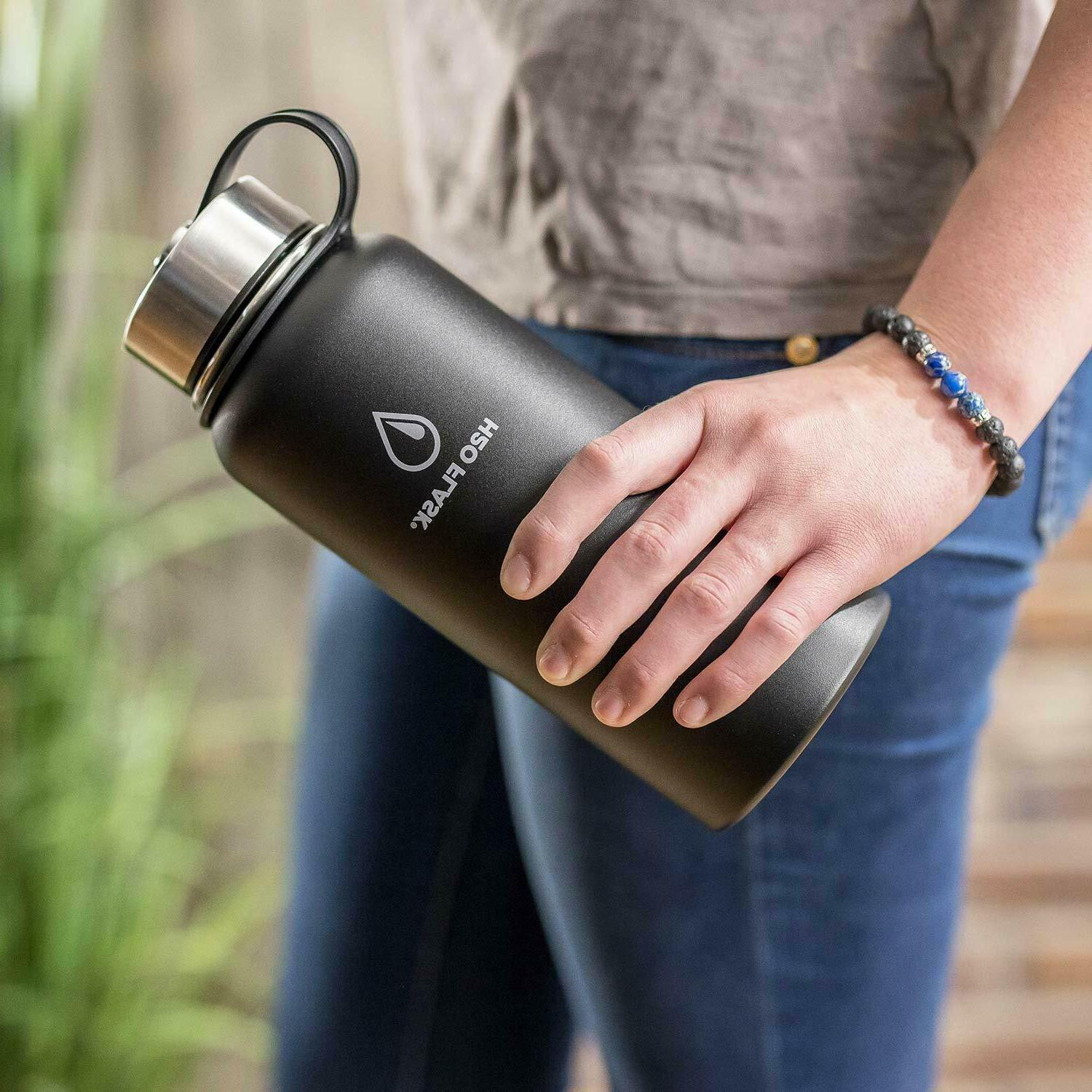 H2O Flask Water Bottle with Steel Wide Mouth 40oz