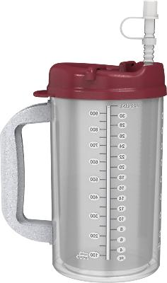 32 oz Hospital Mugs with Electron Burgundy Lids - Cold Drin