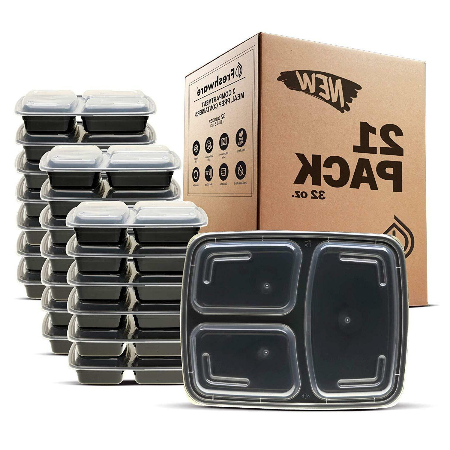 meal prep containers 21 pack 3 compartment