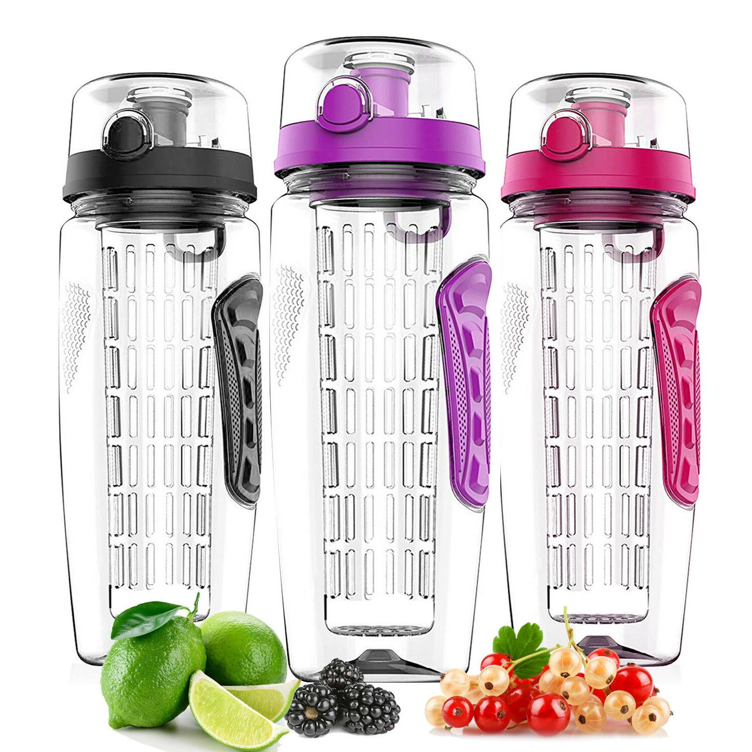 32 Oz Fruit Infusing Infuser Water Bottle Health BPA Free Pl