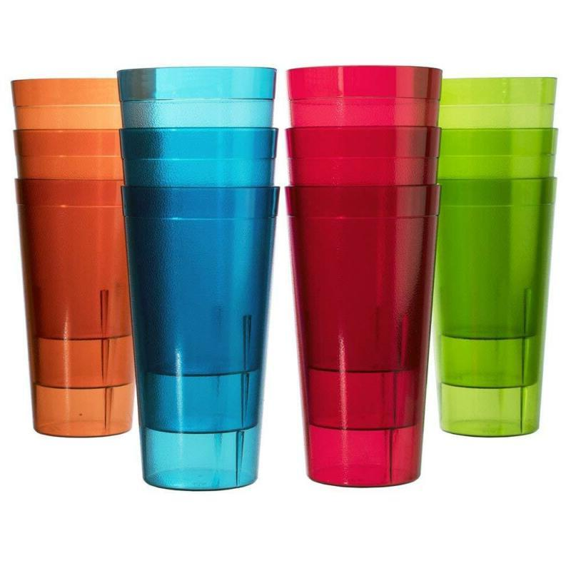 RAINBOW 12PK Clear Break Resistant Drinking Cups Glasses 32