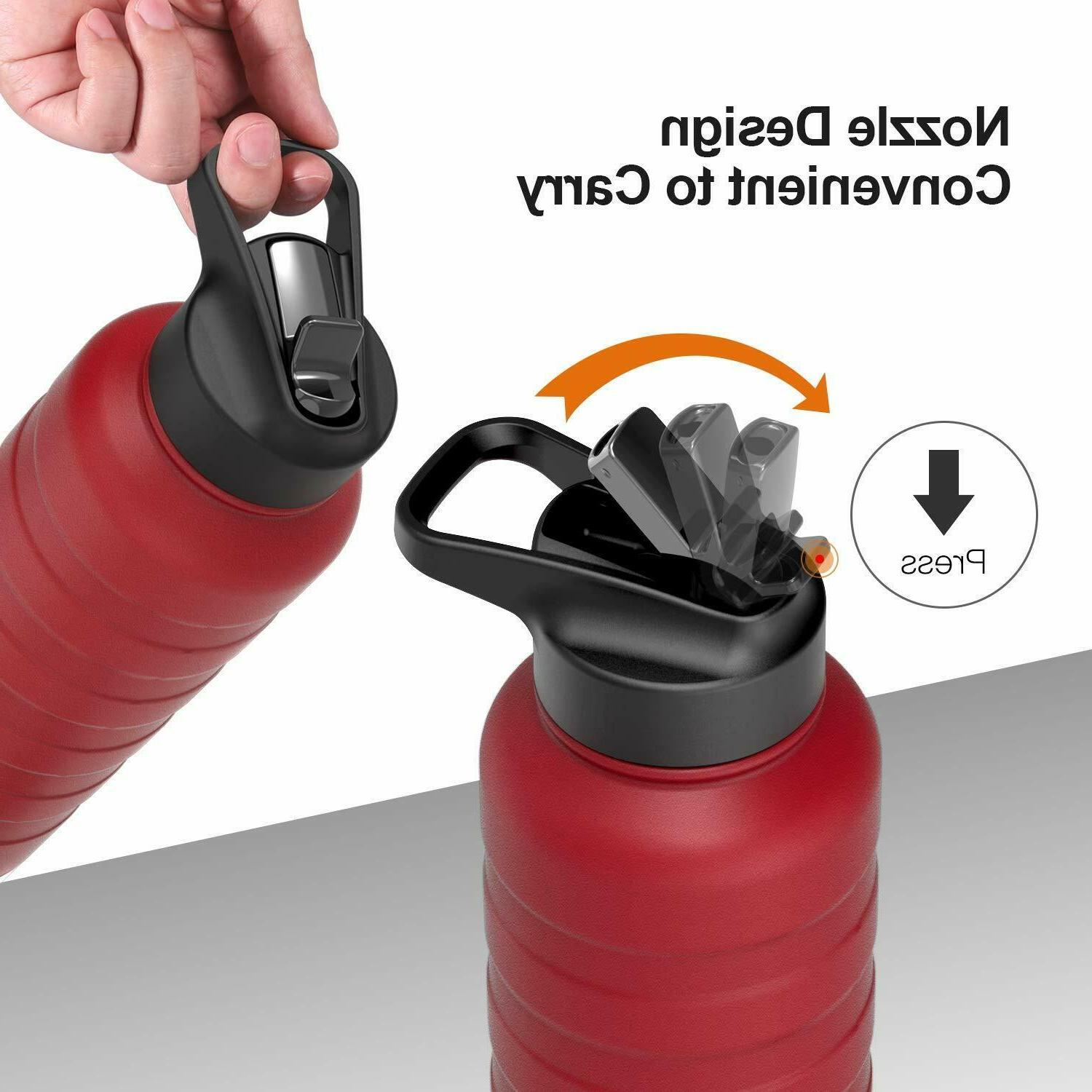 REYLEO Water Bottle with Straw Oz Black, 18/8 Stainless