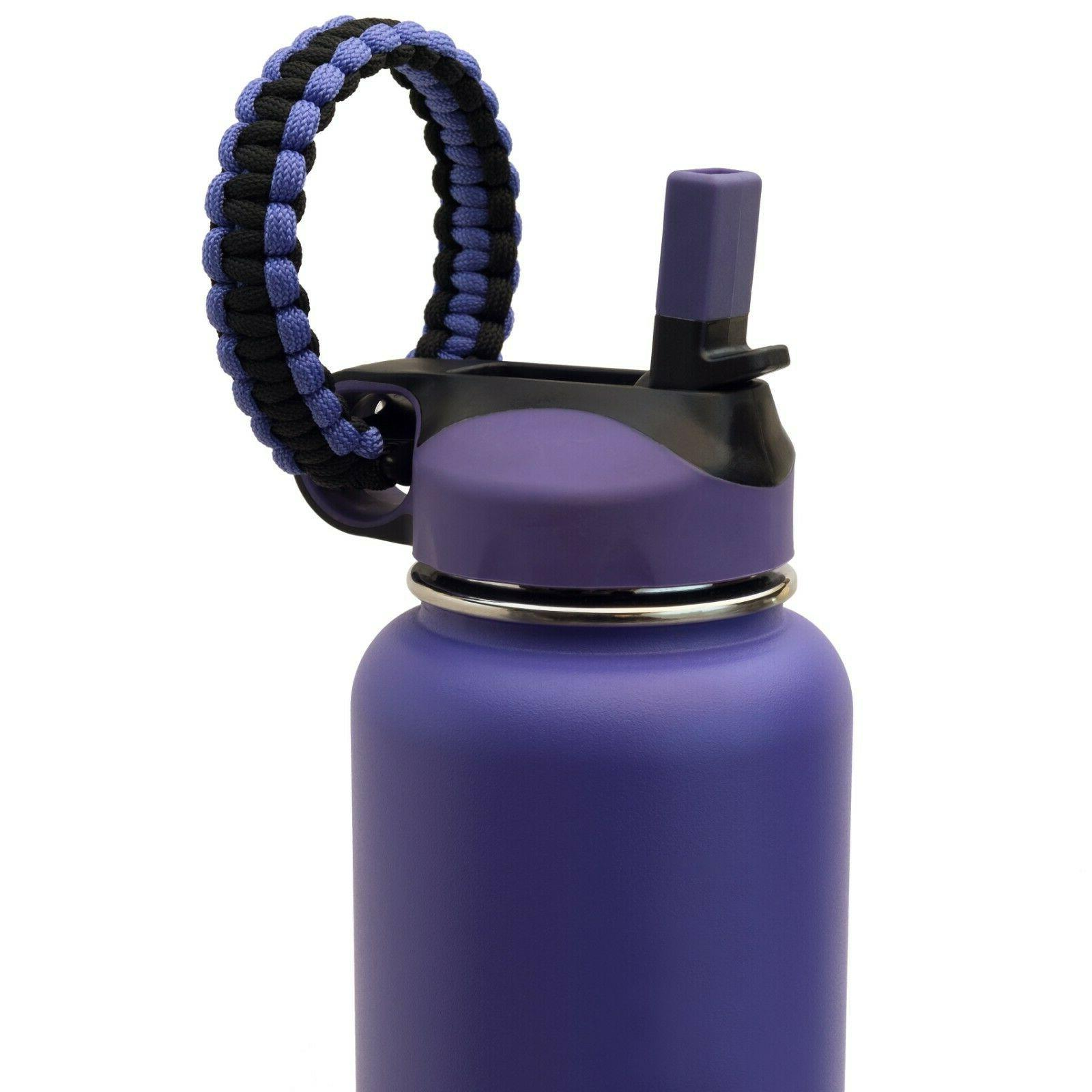 Wide Mouth Flip Straw Lid with Paracord Handle + Hydro Flask