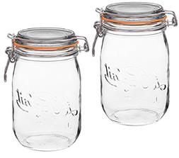 2 Le Parfait Super Jars - Wide Mouth French Glass Preserving
