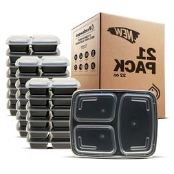 Freshware Meal Prep Containers  3 Compartment with Lids BPA