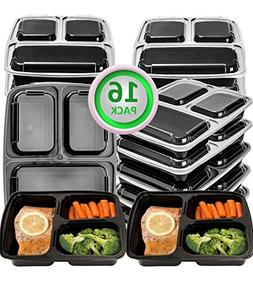 Green vege Bento 16 Pack Meal Prep Containers 3 Compartment