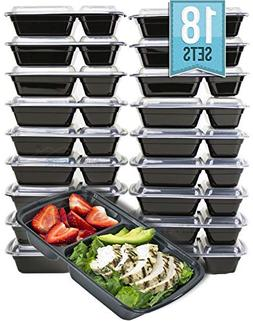 MiscHome 2 Compartment Meal Prep Containers | 32 Oz. Two Co