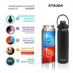 New Aquatix Black Insulated FlipTop Sport Bottle 32 oz Pure