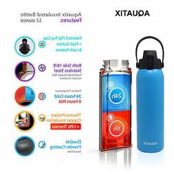 New Aquatix Blue Insulated FlipTop Sport Bottle 32 oz Pure S
