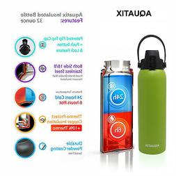 New Aquatix Lime Insulated FlipTop Sport Bottle 32 oz Pure S