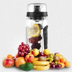 New Black 32oz Fruit Infuser Water Bottle w/ Bonus USA Free