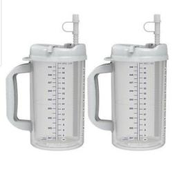 Set of 2 - Measured 32 oz Insulated Travel Hospital Exercise