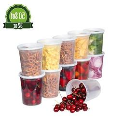 Plastic Food Storage Containers with Lids - 50 Pack Lunch De