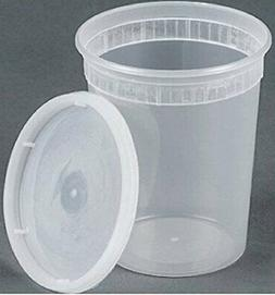 32oz plastic soup/Food container with lids 50 Pack