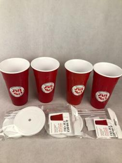 Red Party Cup 32 oz - Set of 4, Double Wall Insulation Lids