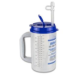 32 oz Insulated Cold Drink Hospital Mug with Blue Lid   Wate